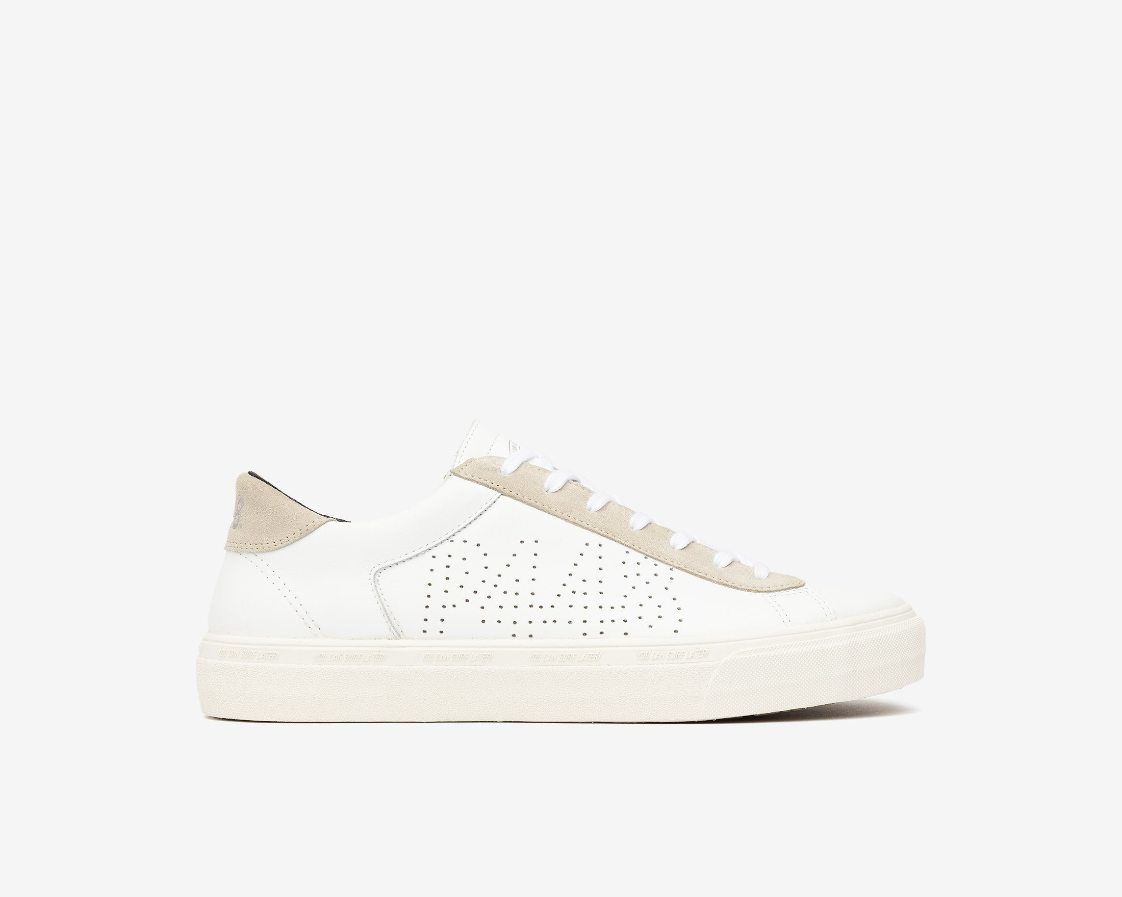 Y.C.S.L. Low-Top Volcanized Sneaker in White/Sand - Profile
