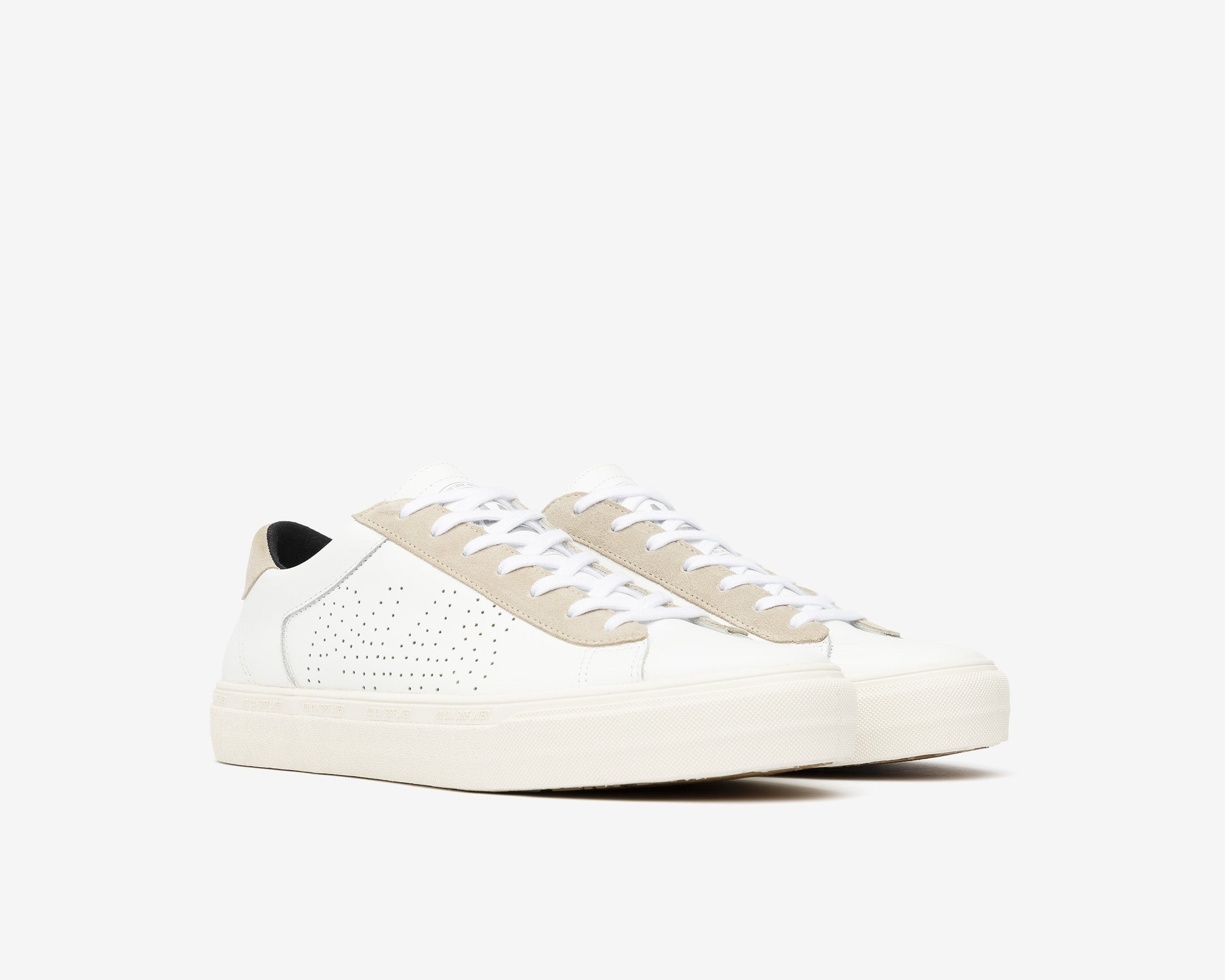 Y.C.S.L. Low-Top Volcanized Sneaker in White/Sand - Side