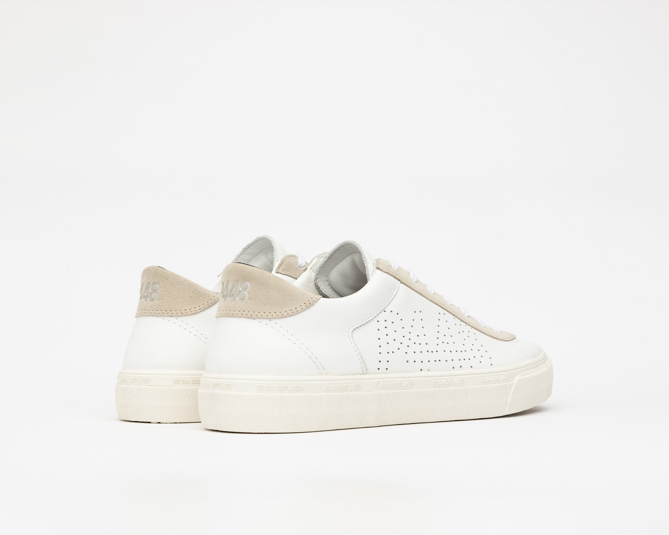 Y.C.S.L. Low-Top Volcanized Sneaker in White/Sand - Back