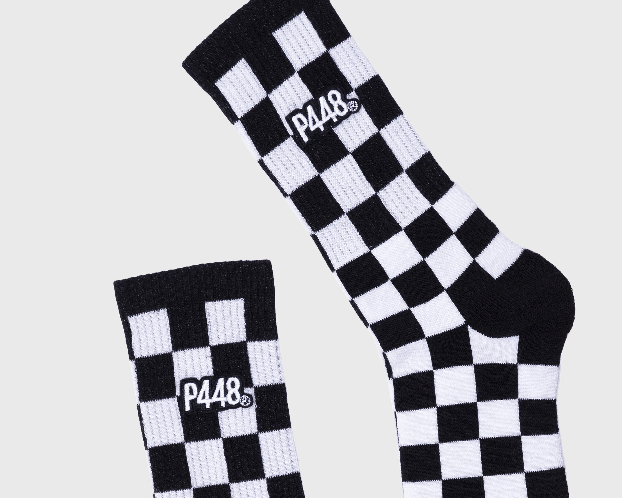 P448 Socks in White/Black Check