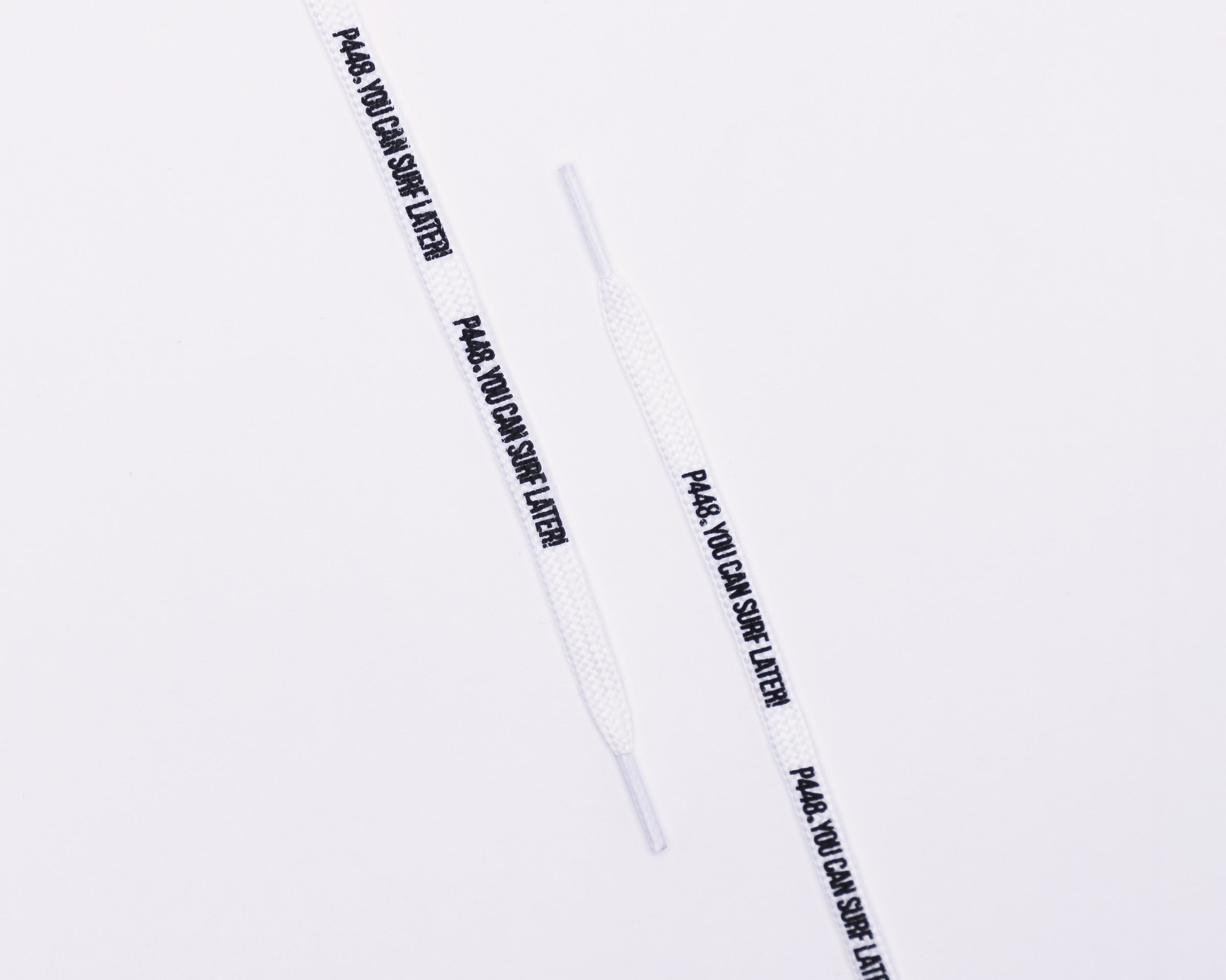 "P448 Black / White ""You Can Surf Later"" Shoe Lace"