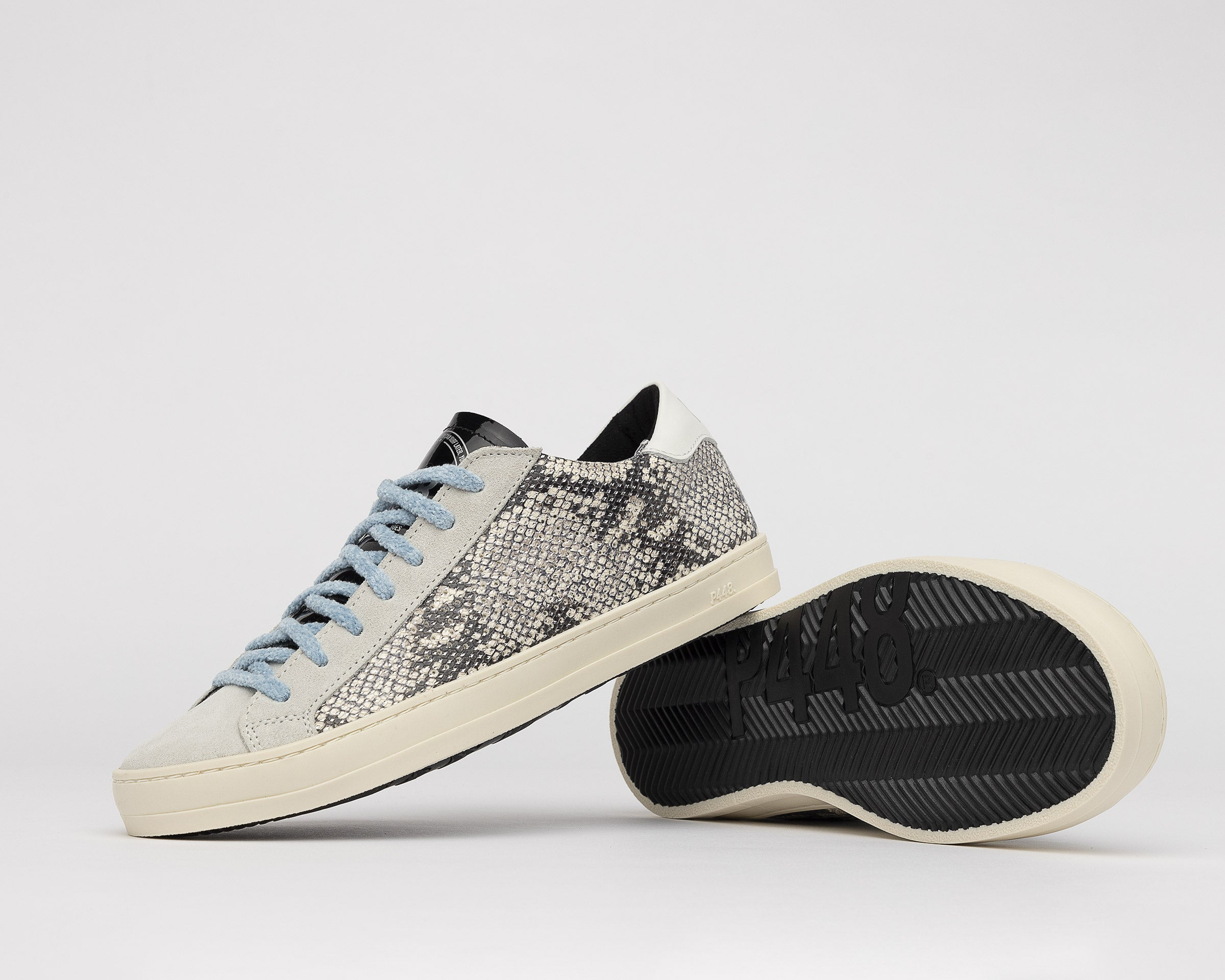 John in Silver Python with Blue Lace - Detail