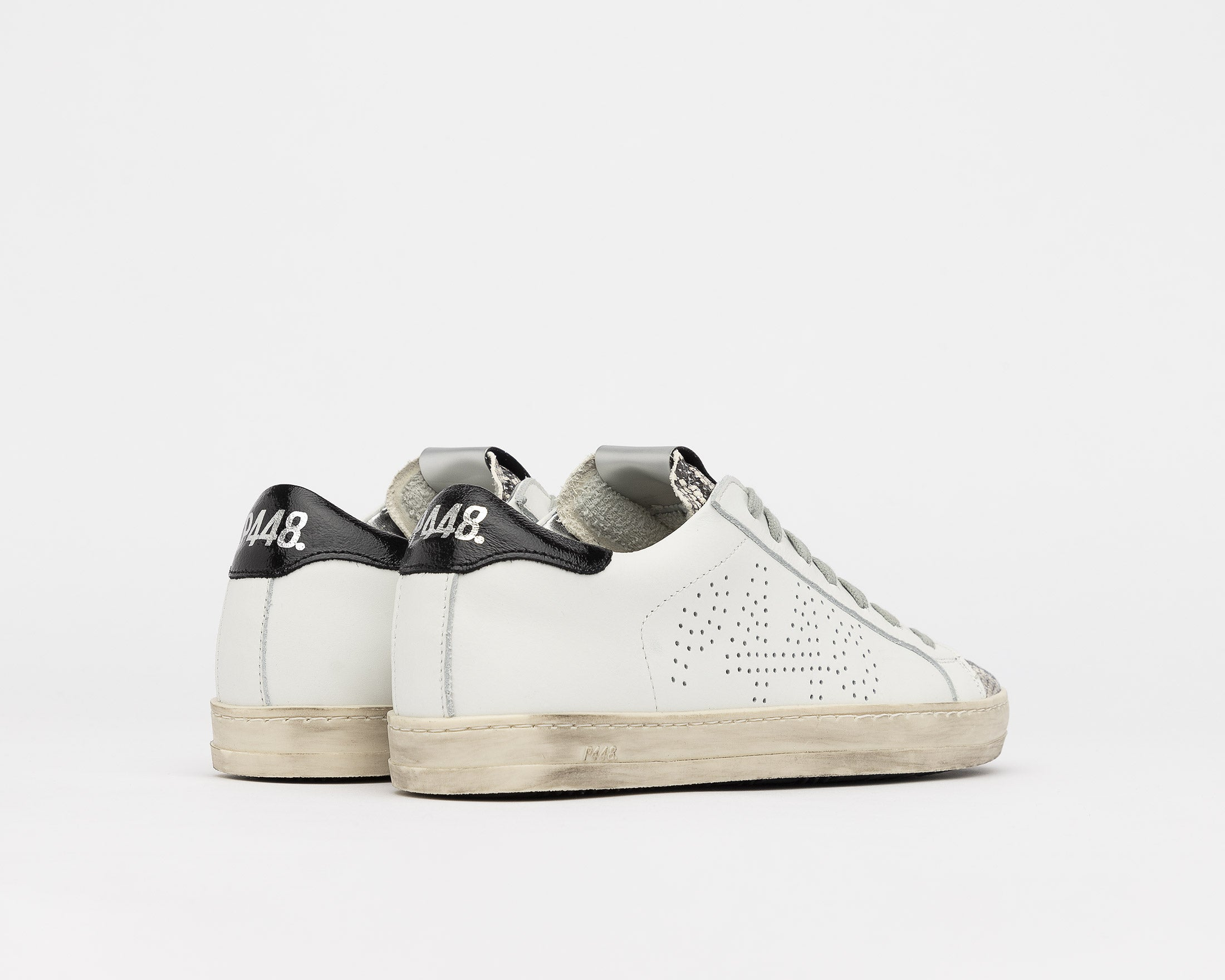 John Low-Top Sneaker in White/Silver Python - Back