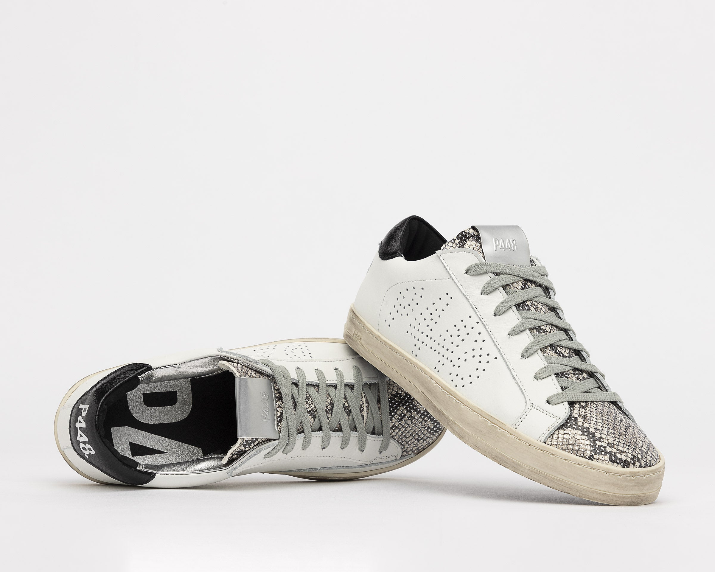 John Low-Top Sneaker in White/Silver Python - Detail 1