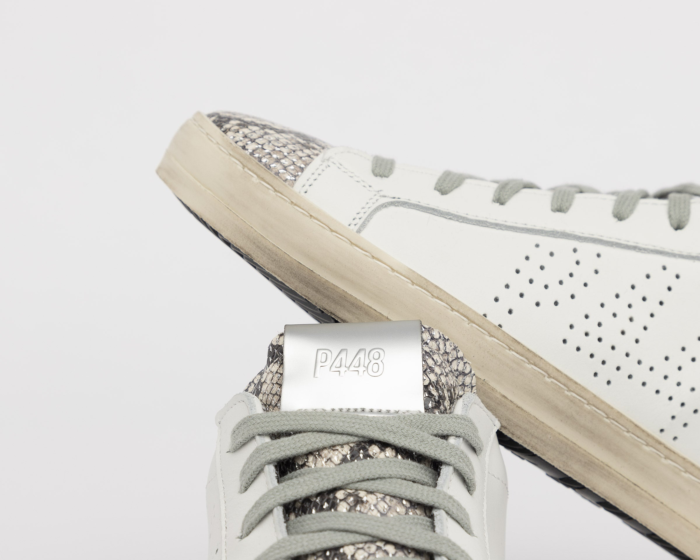 John Low-Top Sneaker in White/Silver Python - Detail 2