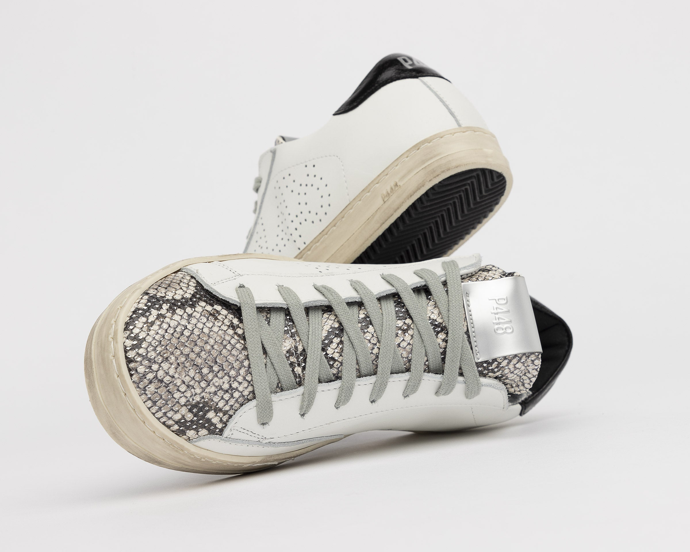 John Low-Top Sneaker in White/Silver Python - Detail 3