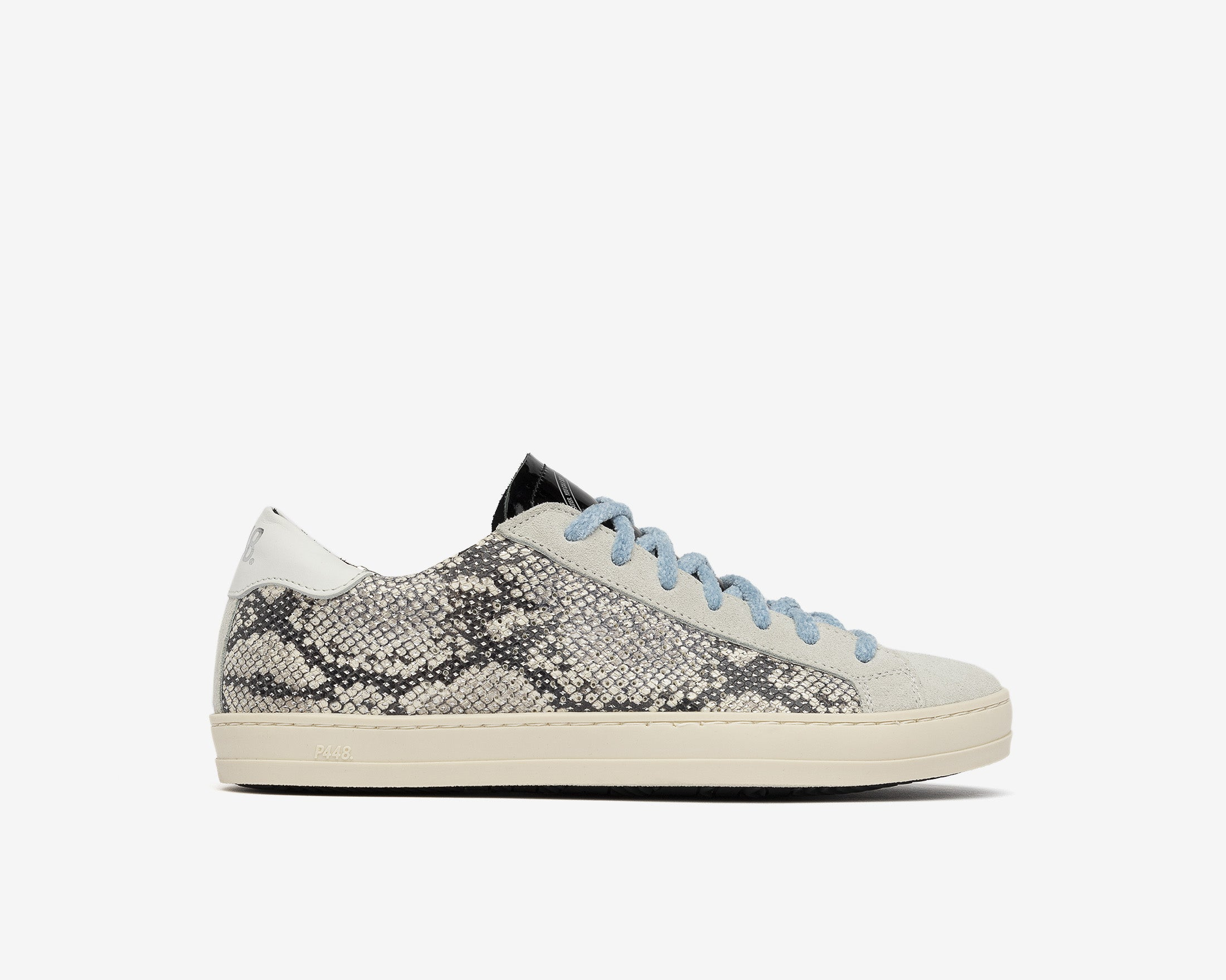 John in Silver Python with Blue Lace - Profile