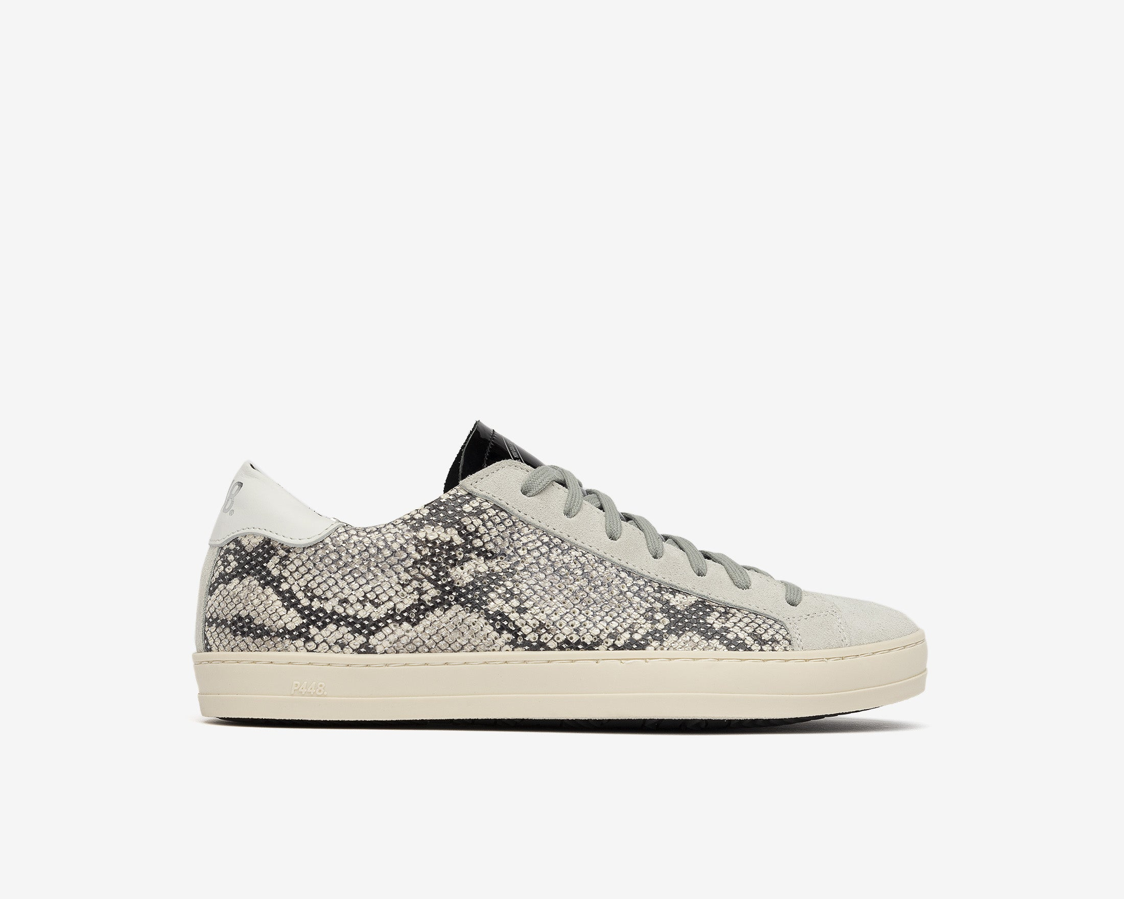 John in Silver Python with Grey Lace - Profile