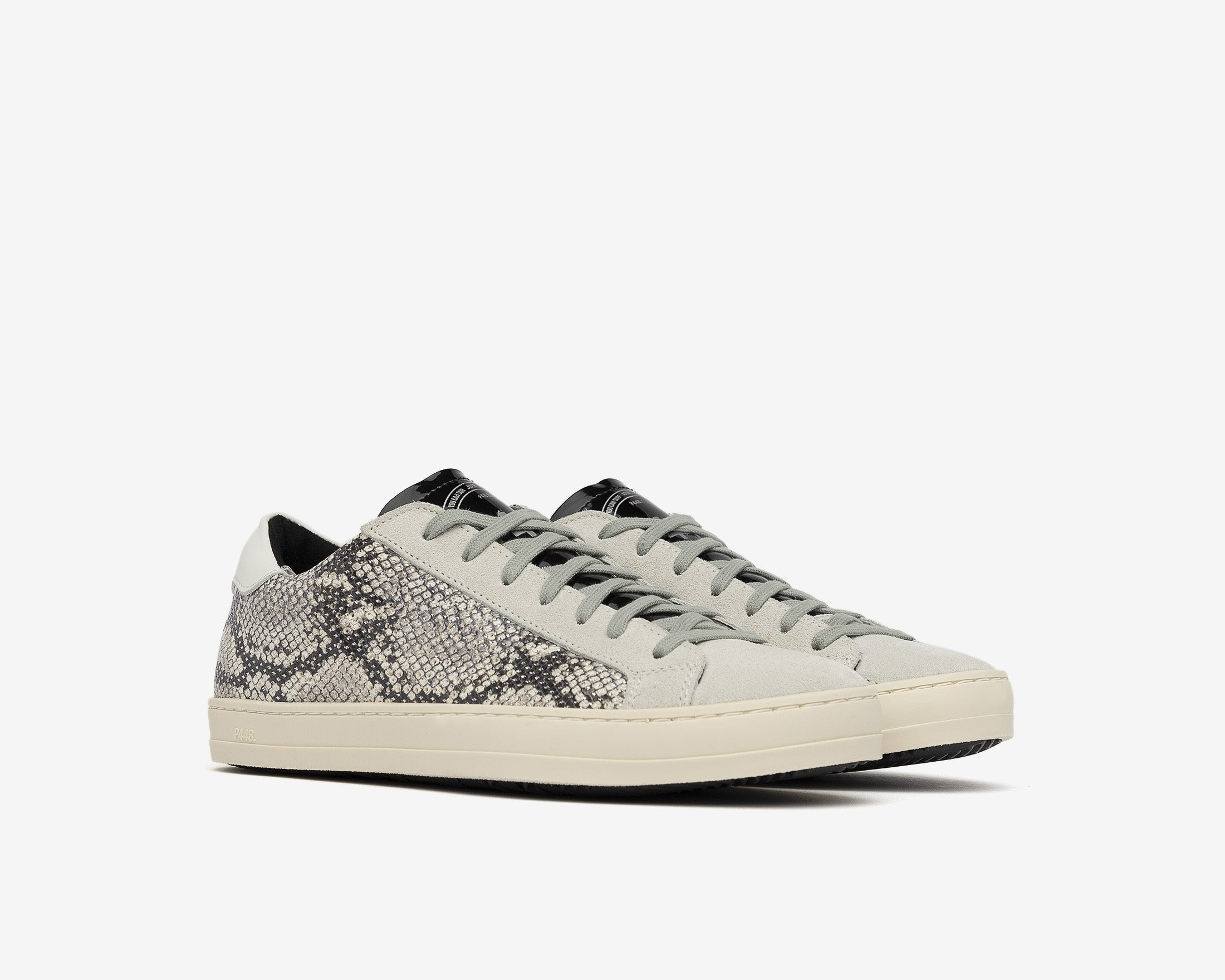 John in Silver Python with Blue Lace - Side