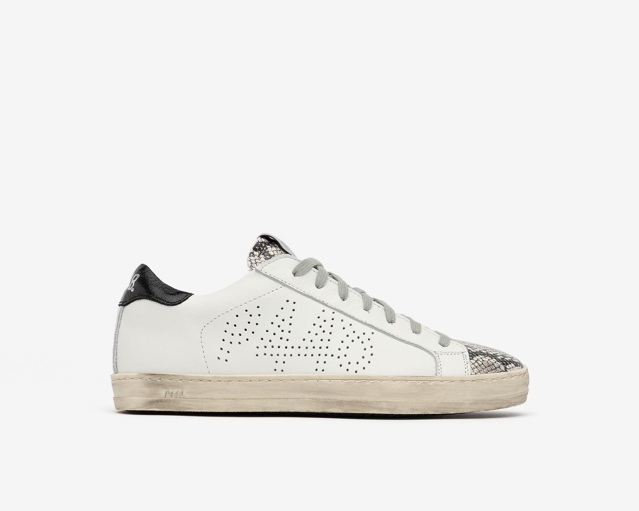John Low-Top Sneaker in White/Silver Python - Profile