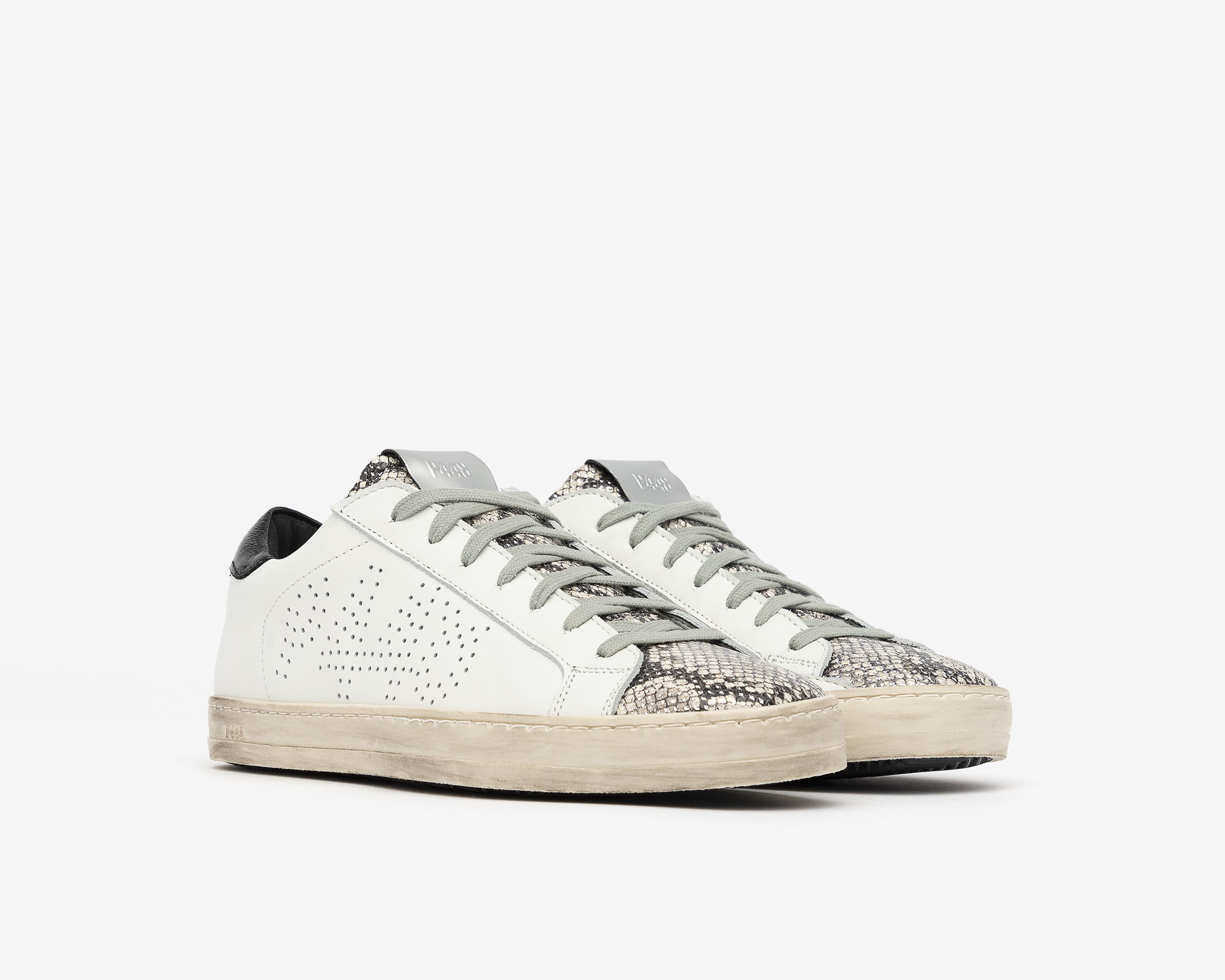 John Low-Top Sneaker in White/Silver Python - Side
