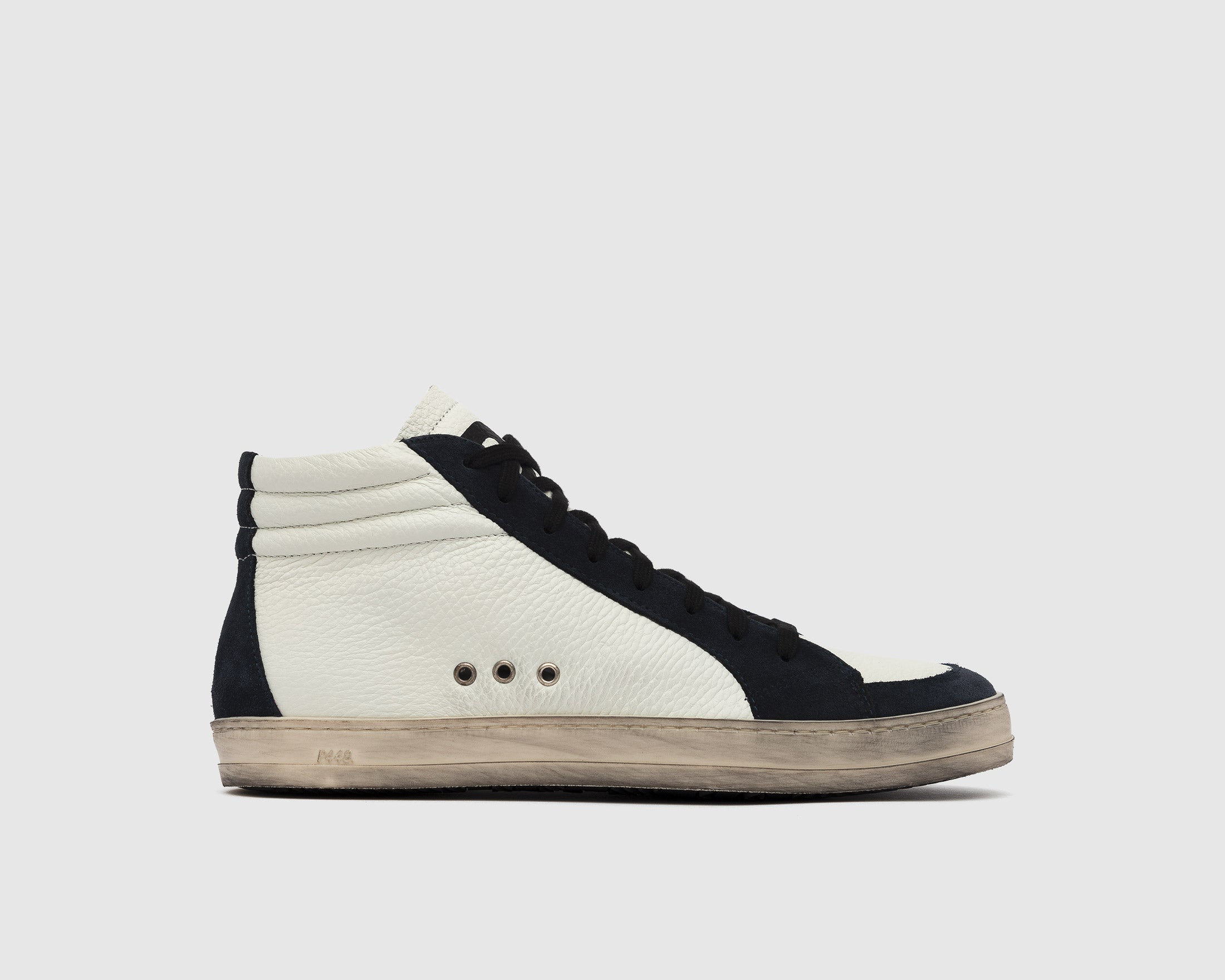 Skate High-Top Sneaker in White/Blue - Profile