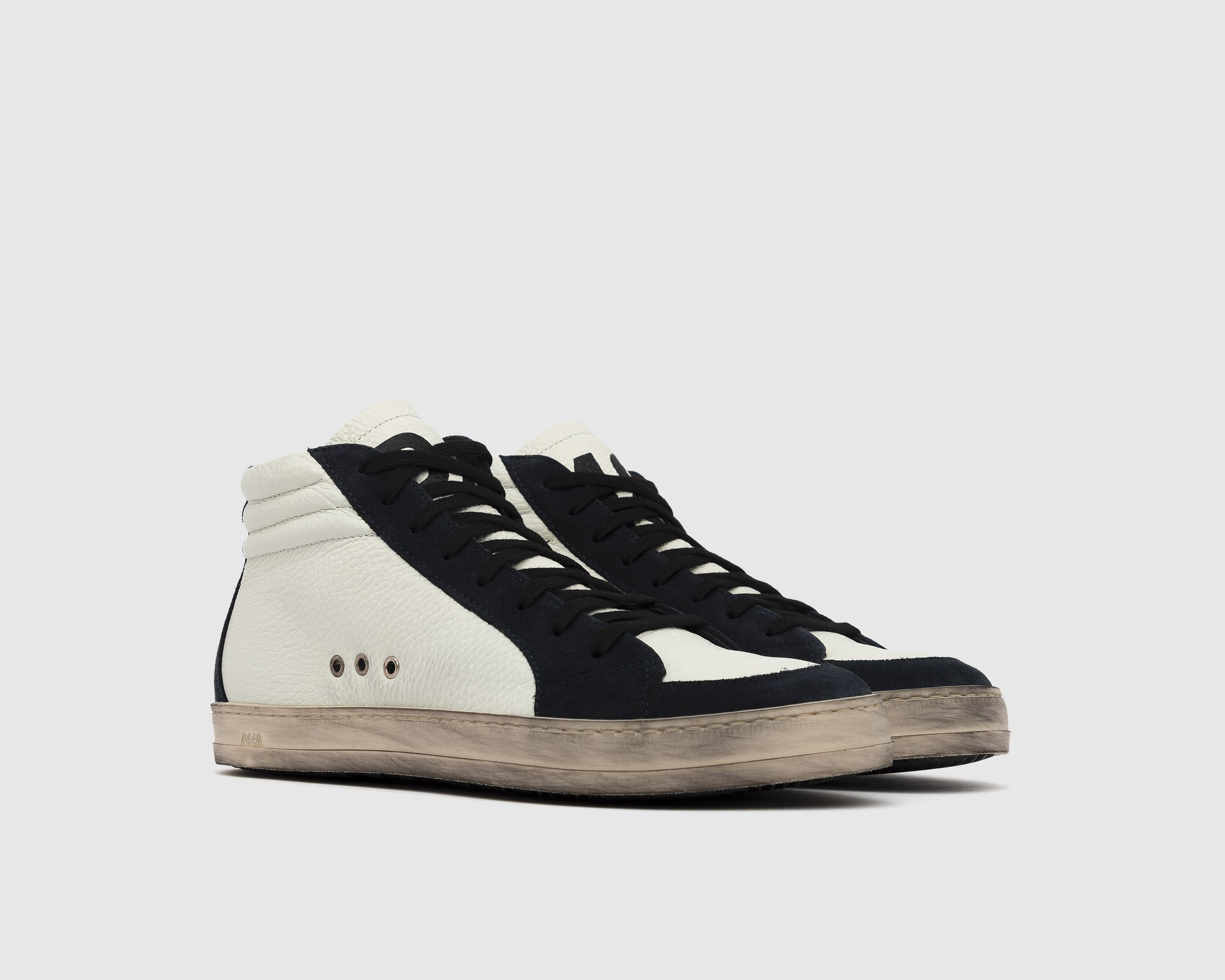 Skate High-Top Sneaker in White/Blue - Side