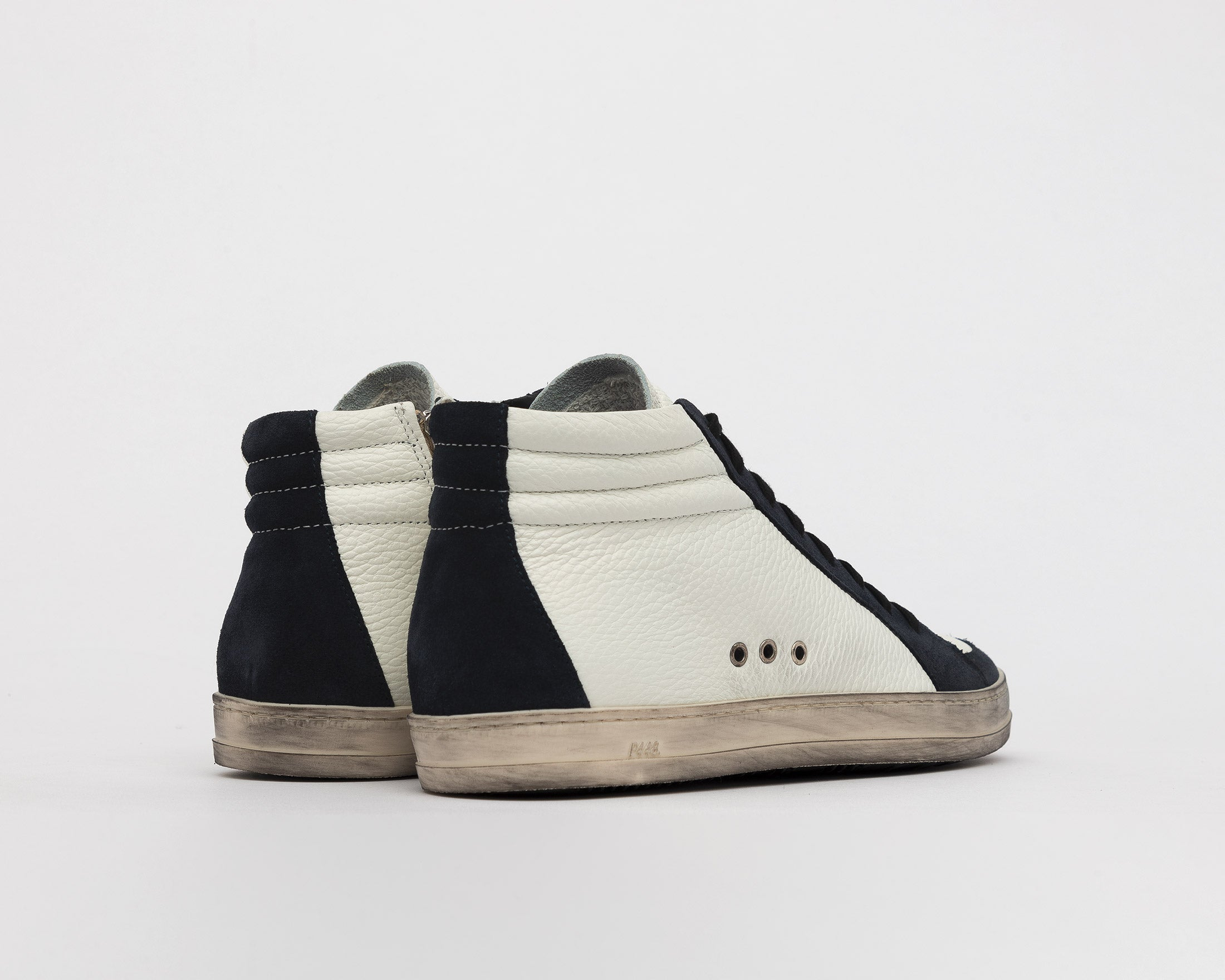 Skate High-Top Sneaker in White/Blue - Back