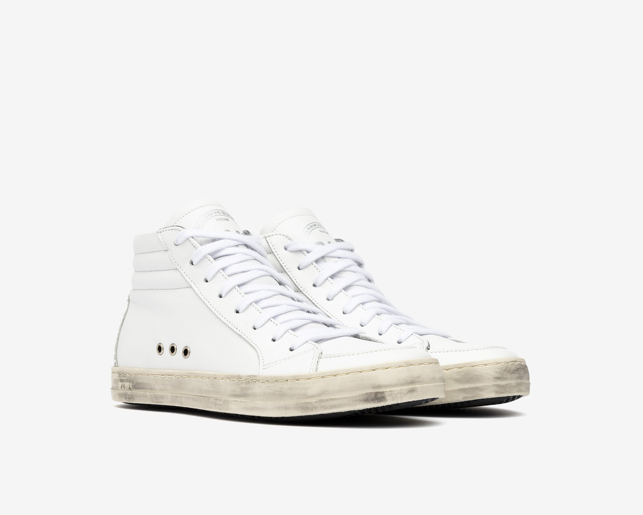 Skate High-Top Sneaker in White Gravel - Side