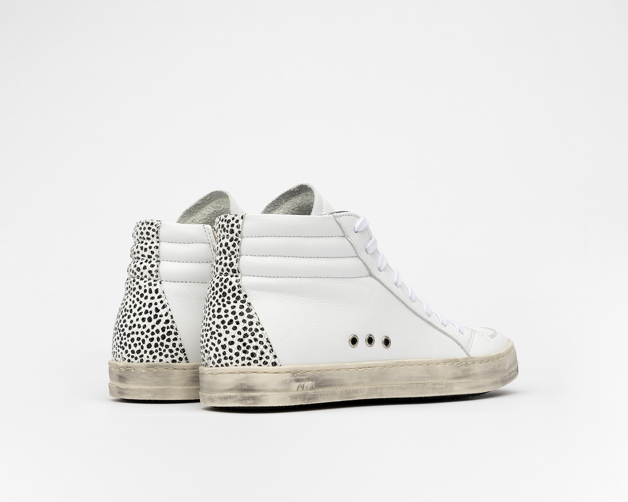 Skate High-Top Sneaker in White Gravel - Back
