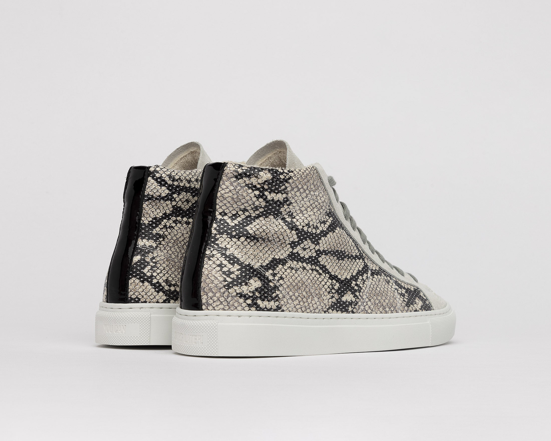 Star High-Top Sneaker in Silver Python - Back