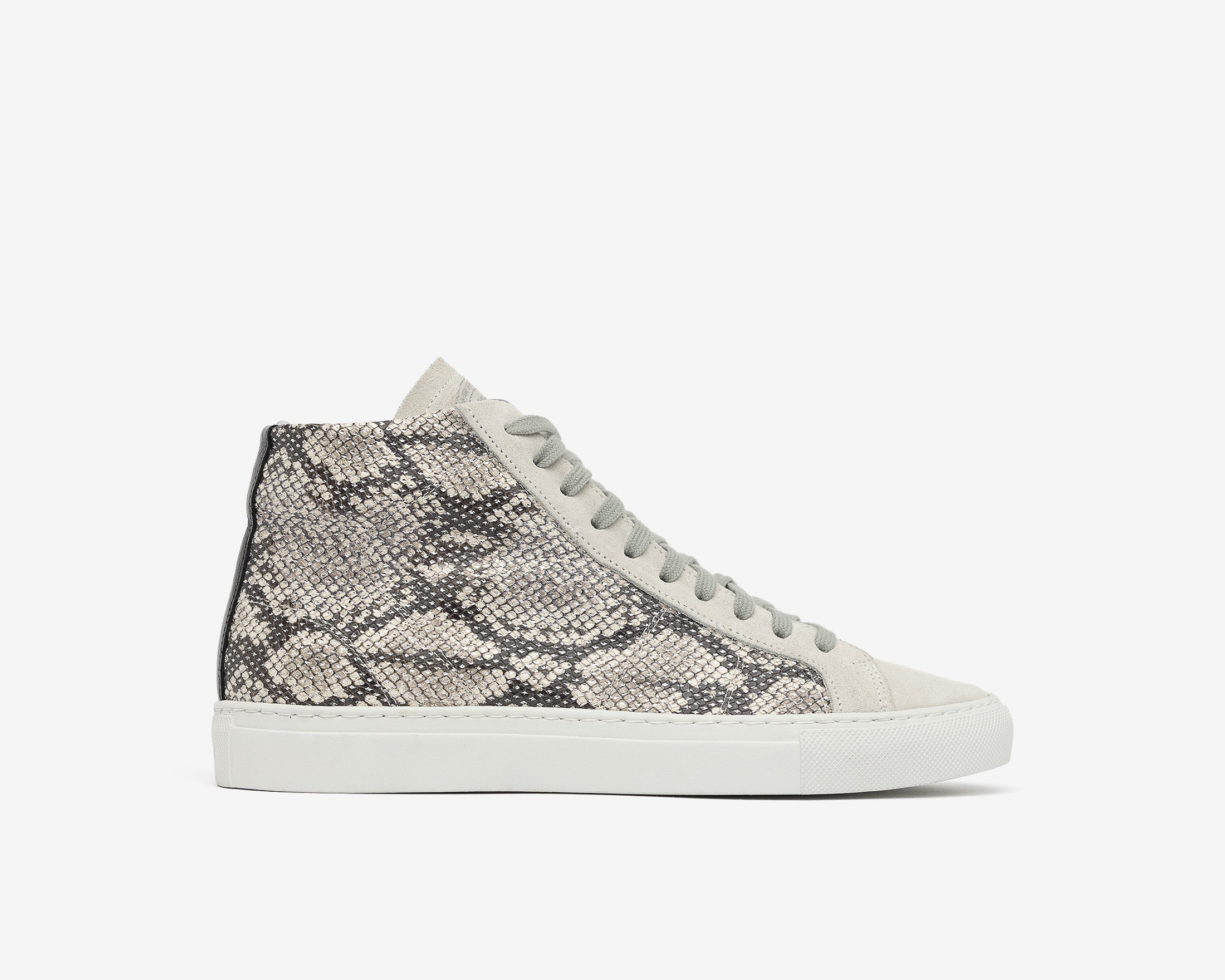 Star High-Top Sneaker in Silver Python - Profile