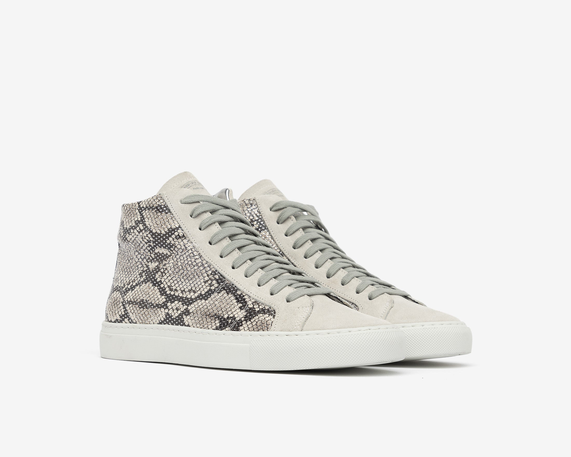 Star High-Top Sneaker in Silver Python - Side