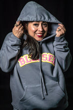 Load image into Gallery viewer, Blessed Modern Grey Drop Shoulder Hoodie Pullover