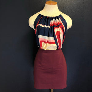 Scarf Top-Navy Block