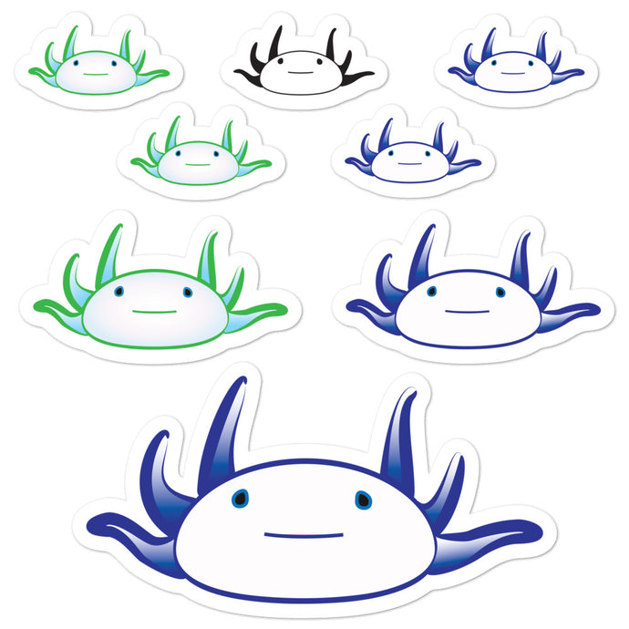 Axolotl Stickers - Blue/Green-BioScience Art