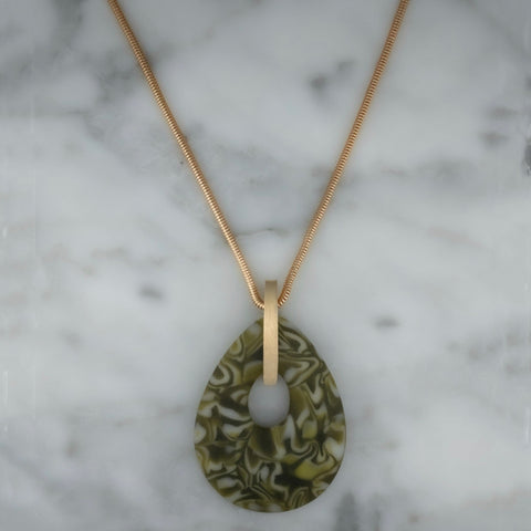 Recycled Teardrop Murrini Glass Pendant | Gold Plated Chain