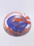 clear red and blue furnace sculpted glass paperweight