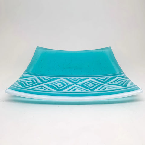 aqua and white glass plate