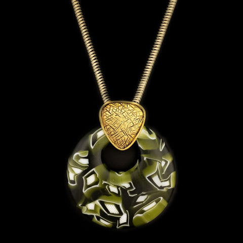 Circle Murrini Glass Pendant | Gold Finished Brass Chain
