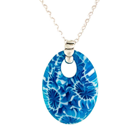 blue glass pendant with sterling silver chain