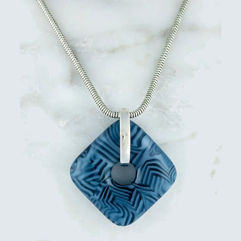 blue fused shattered glass pendant