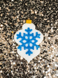 white and blue christmas ornament