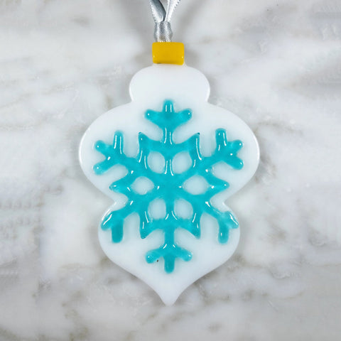 white and blue snowflake tree ornament