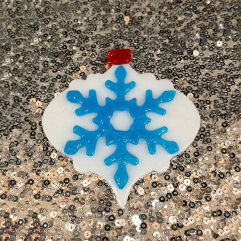 white and blue xmas tree ornament
