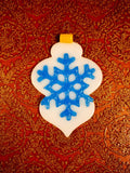 customizable white and blue tree ornament