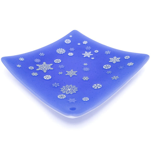 Blue glass plate with snowflake decals