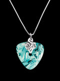 aqua recycled glass pendant necklace on silver chain