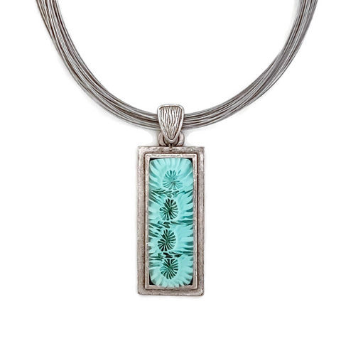 aqua glass bezel set glass pendant necklace