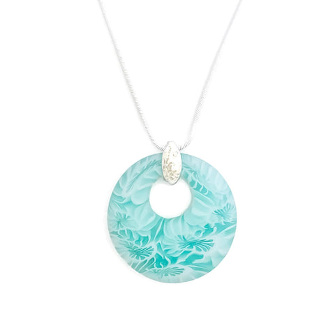 24-inch aqua blue pendant necklace