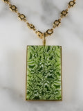 Green glass gold plated necklace