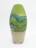 hand blown green and tan art glass vase