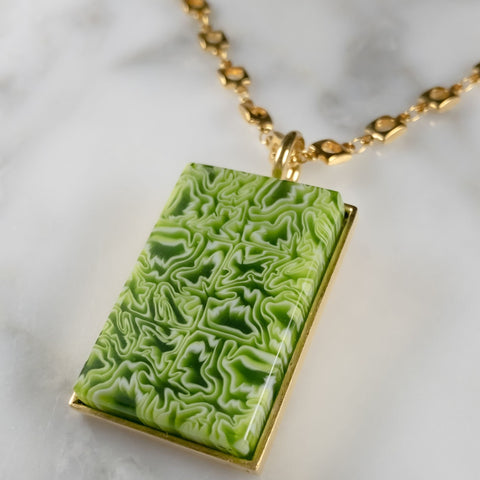 Rectangle Murrini Glass Pendant | Gold Plated Chain