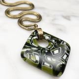 green murrini fused glass diamond pendant