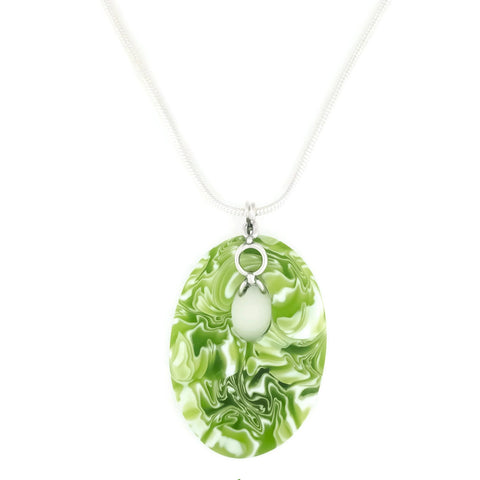 glass pendant necklace with sterling silver chain