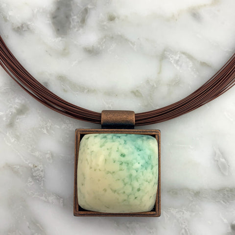 Square Glass Pendant Necklace | Stainless Steel Chain