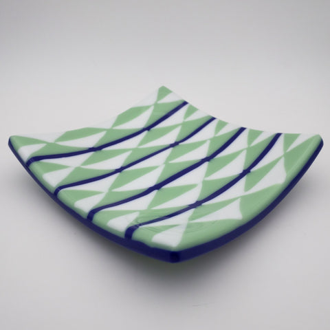 green and white triangle fused glass plate