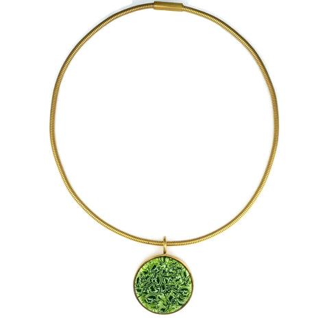 Circle Murrini Glass Pendant | Gold Plated Chain