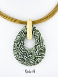 green and white murrini fused glass pendant
