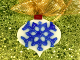 Retro Snowflake Glass Ornament